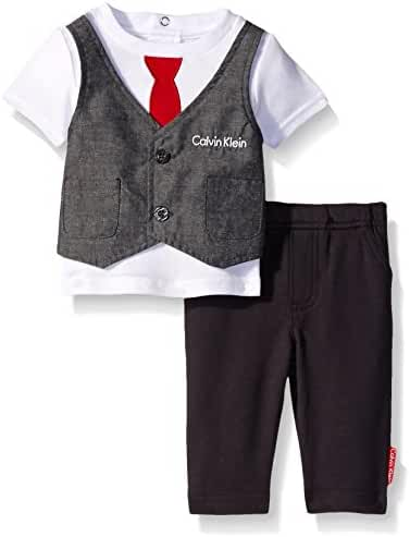 Calvin Klein Baby Boys' Interlock Top with Vest and Pants