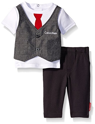 Calvin Klein Baby-Boys Interlock Top with Vest and Pants, Gray, 0-3 Months