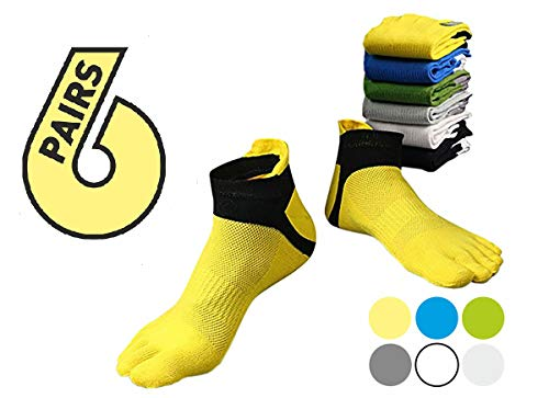 Socks Toe Ankle (Toe Socks Colorful - Five Toe Socks - 5 Finger Socks for Men Women Teen - 6 pack)