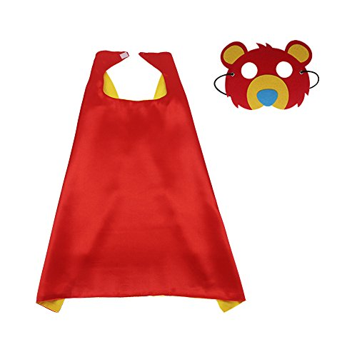 Kids Animal Costume Dress up Cape with Felt Bear Mask-Girls Boys Cosplay Superhero Party Supplies (#3 Cape with Red Bear mask)