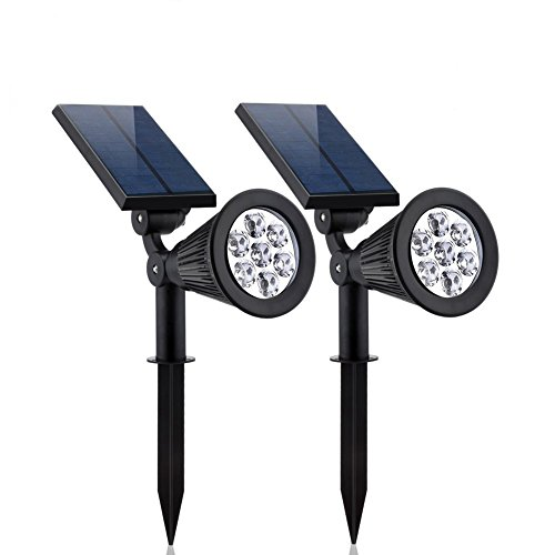 YESDA Solar Spotlights 2-pack Upgraded Solar Lights Outdoor 7 LED Security Lighting Landscape Light Auto On/Off Waterproof Wall Light for Patio Porch Path Deck Garden Cold White