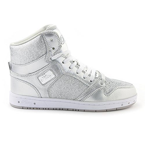 Pastry Glam Pie Glitter Dance Sneakers, Silver, Size 7.5