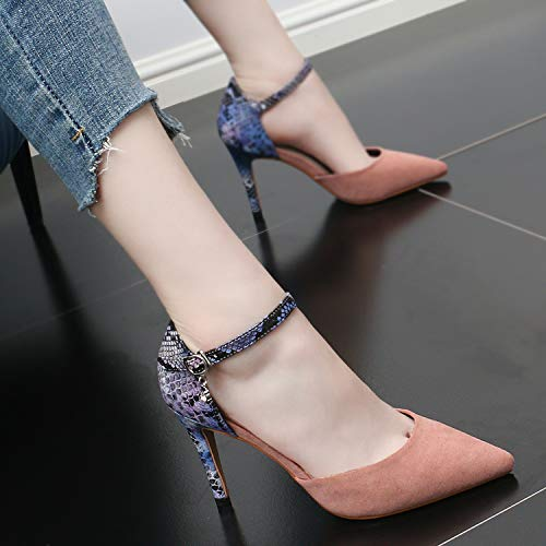 Thin SFSYDDY Suede Sexy Summer Spring High Shoes Heel Buckles Heels And 9Cm Black Shallow Matching Pointed Sharp Sandals Fashion Color rqZrv1