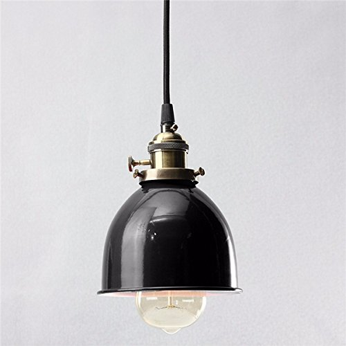 Hitommy E27 Modern Retro Vintage Ceiling Pendant Light Bulb Lamp Shape Cafe Bar Fixture - Black
