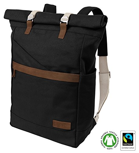 Ansvar Organic Cotton Canvas Backpack in Anthracite / Black - High Quality Daypack from 100% sustainable material - Vintage Roll Top Canvas / Leather Bag - First GOTS & Fairtrade certified Rucksack