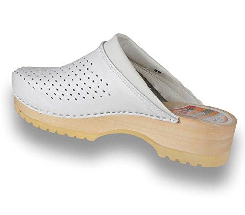 Blanches Leon Chaussures Sur Glisser Pour Sabots Le Mule Cuir Femmes Dames B2 Pantoufles U4Zxx7qw