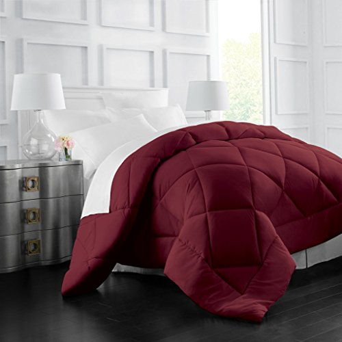 Egyptian Luxury Goose Down Alternative Comforter - All Season - 2100 Series Hotel Collection - Luxury Hypoallergenic Comforter - Full/Queen - (Burgundy Bedding)