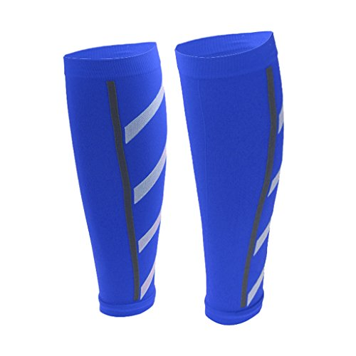 MagiDeal Men Women Running Athletics Compression Sleeves Calf Leg Shin Splints - 7 Colors vailable - Blue