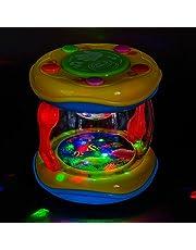 PALESTRAKI Kleine kleurrijke trommel voor peuters, reisspeelgoed voor peuters in het vliegtuig. Ocean drum in handige dimensie onderweg. Zakspeelgoed voor meisjes en jongens van 1 jaar. Verjaardagscadeau voor baby