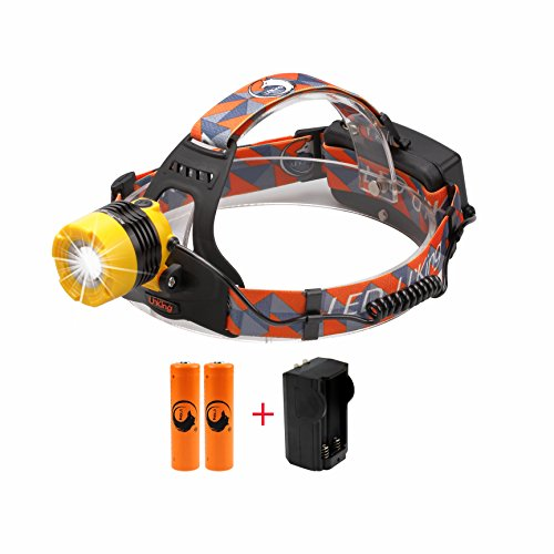 LED Headlight ,3 Modes Waterproof Helmet Light Headlamp with Battery Charger and (Yellow Track Lighting Fixture)