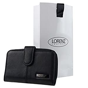 Ladies Black Nappa Leather Purse/Wallet by Lorenz Zip Around Free Gift Bag