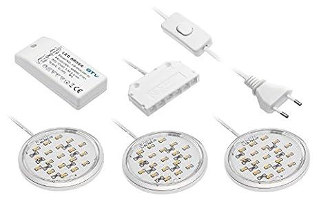 Cromado Juego de 3 LED de iluminación para armario - 12 V Total 5,4 W - 3000 K luz blanca cálida/luces LED Puck para armario, cocina, armario, armario luces ...