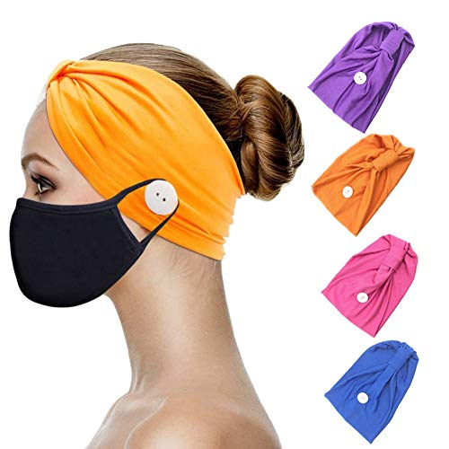 Heandbands with Buttons for Mask Holder, Soft Comfy Headwrap Ear Protection for Nurse Doctor Healthcare Workers – Premium Sweat Band Headwear (Set 3-4 headbands+2 masks)