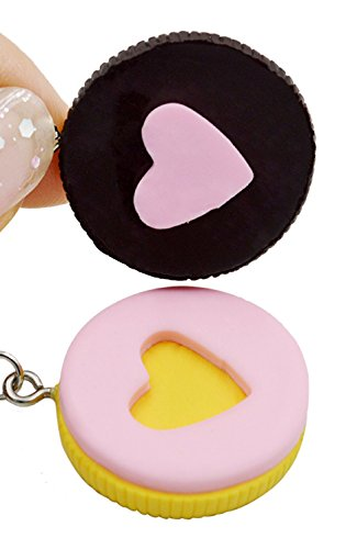 CUTE 'BFF Realistic Oreo Yellow/Black Heart Cookie' 2-Piece (Best Friends Forever) Necklaces w/ GIFT Box