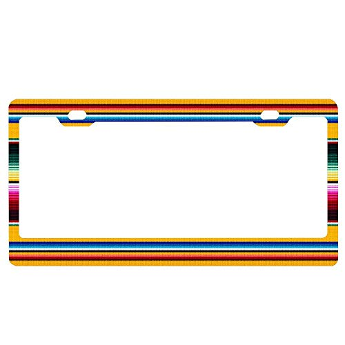 Customized Frames Colorful Mexican Poncho Pattern License Plate Frame, Car Licenses Plate Cover Holder for US Standard License Tag, Aluminum Metal