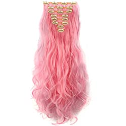 LHFLIVE Womens 18 Clips 8pcs Full Head Hair Extensions 24 Inch Long Curly Light Pink Hairpiece
