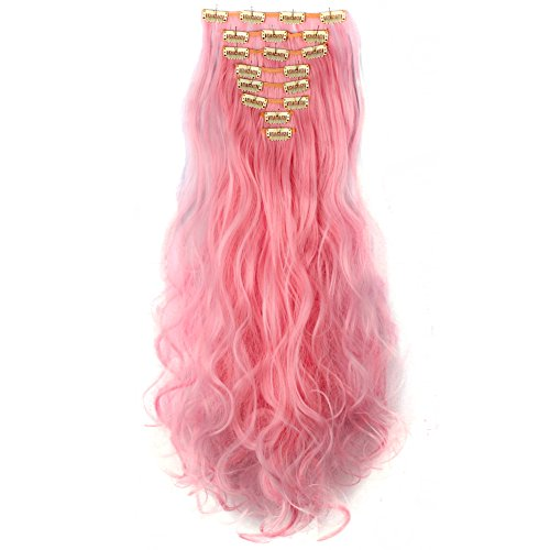 LHFLIVE Womens 18 Clips 8pcs Full Head Hair Extensions 24 Inch Long Curly Light Pink Hairpiece (Extensions Pastel)