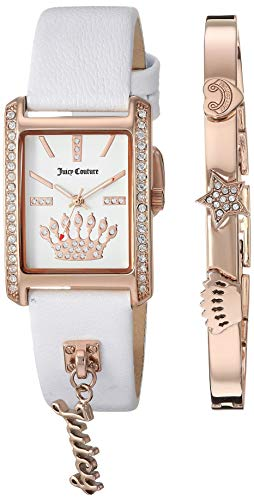 Juicy Couture Black Label Women's JC/1030RGST Swarovski Crystal Accented Rose Gold-Tone and White Leather Strap Watch and Bracelet - Juicy Couture Crystal Rose