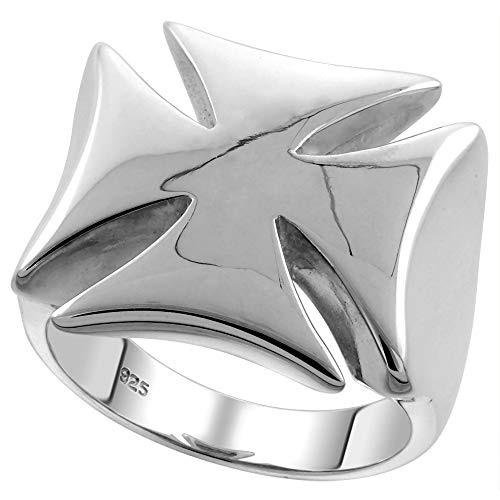 Sterling Silver Large Maltese Cross Ring for Men Flawless Finish 3/4 inch Size 9