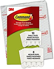 Command Kleine en middelgrote ophangstrips, verpakking met 4 x 2 fotohangers, maat S en M, wit, lijst en poster, muurstickerstrips