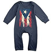 Mri-le1 Baby Boy Girl Organic Coverall Vintage Puerto Rico Flag Infant Long Sleeve Romper Jumpsuit