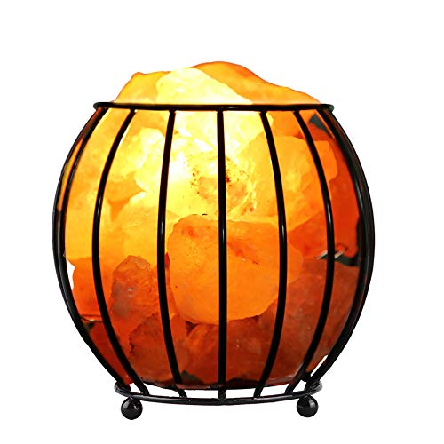 (Natural Salt Lamp,Iron Frame Natural Crystal Salt Rock Lamp Air Purifier Home Room Night Light Decor (Height: Approx. 13.5cm / 5.31in))
