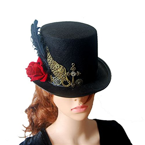 Steampunk Victorian Feather Top Hat