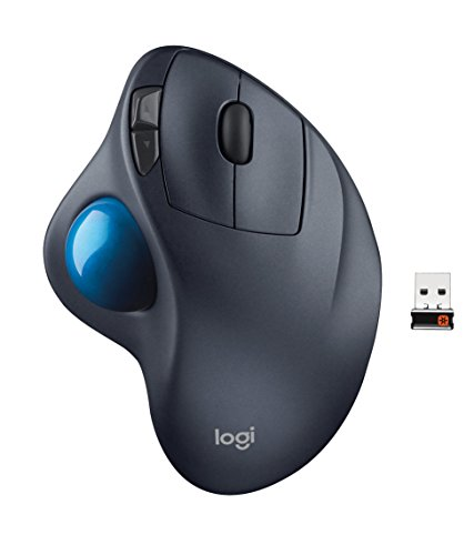 Trac Trackball - Logitech M570 Wireless Trackball Mouse - Ergonomic Design with Sculpted Right-hand Shape, Compatible with Apple Mac and Microsoft Windows Computers, USB Unifying Receiver, Dark Gray