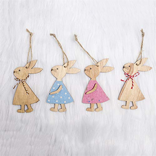 Garish  Easter Handmade Rabbit Bunny Wooden Pendant Hanging Decoration Mini Home Decor by Garish (Image #2)