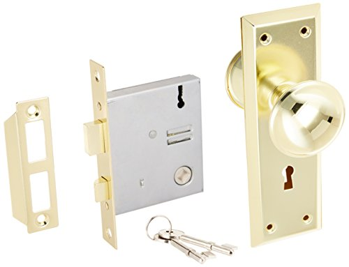 - U ULTRA HARDWARE 44609 Brass Old Time Mortise Interior Set Door Lock, 0.6 x 7.5 x 7.8 inches