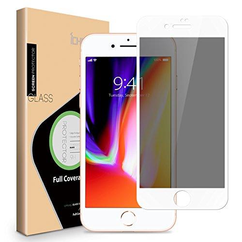 iPhone 8 Plus 7 Plus Privacy Screen Protector - ICHECKEY Anti-Spy Anti-Peep Full Coverage Tempered Glass Screen Cover Film for Apple iPhone 8 Plus/iPhone 7 Plus, 5.5 Inch – White