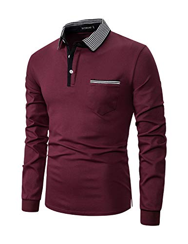 YCUEUST Men's Polo Shirt Long Sleeve Casual Plaid Collar T-Shirts