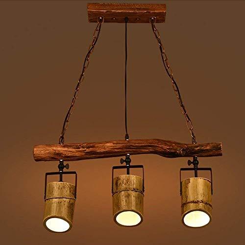 Retro Industrial Pendant Light Creative Wood Style 3-Lights Bamboo Chandelier Art Loft Bar Hanging Lamp Living Room Dining Room Restaurant Study Decorative Interior Lighting L76cmH30cm E27, A Pendant