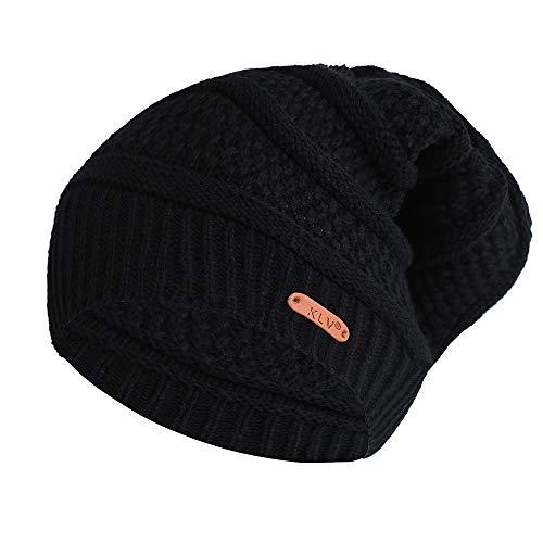 PASATO Solid Casual Wild Hat Men Women Baggy Windproof Warm Crochet Winter Wool Knit Ski Beanie Skull Slouchy Caps Hat(Black,Free Size)