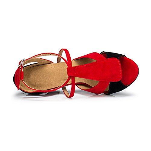 misu - Zapatillas de danza para mujer multicolor rojo y negro