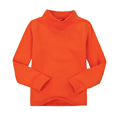 CuteOn Children Unisex Solid Color Kids School Uniform Long Sleeve Turtleneck T-Shirt Orange 3 Years ()