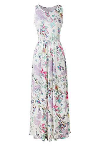 Le Top Pink Dress (CUQY Women's Sleeveless Maxi Dress Floral Print Pocket Racerback (XXL, Pink))