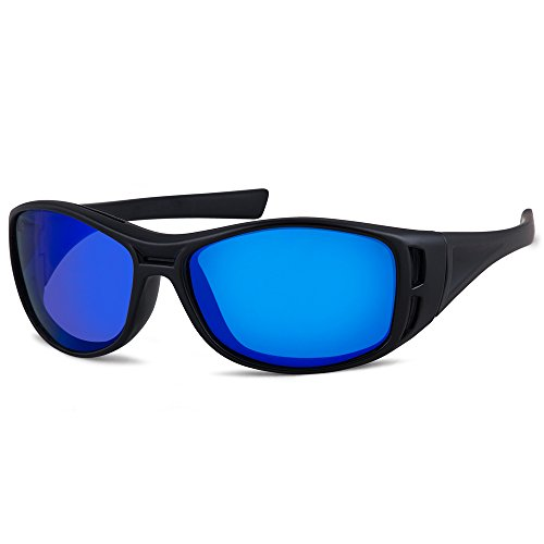 Gone Fishing 'Barramundi' Polarized Fishing Sunglasses with Floating Frame (Matte Black Frame | Sapphire Blue Mirror Lens)