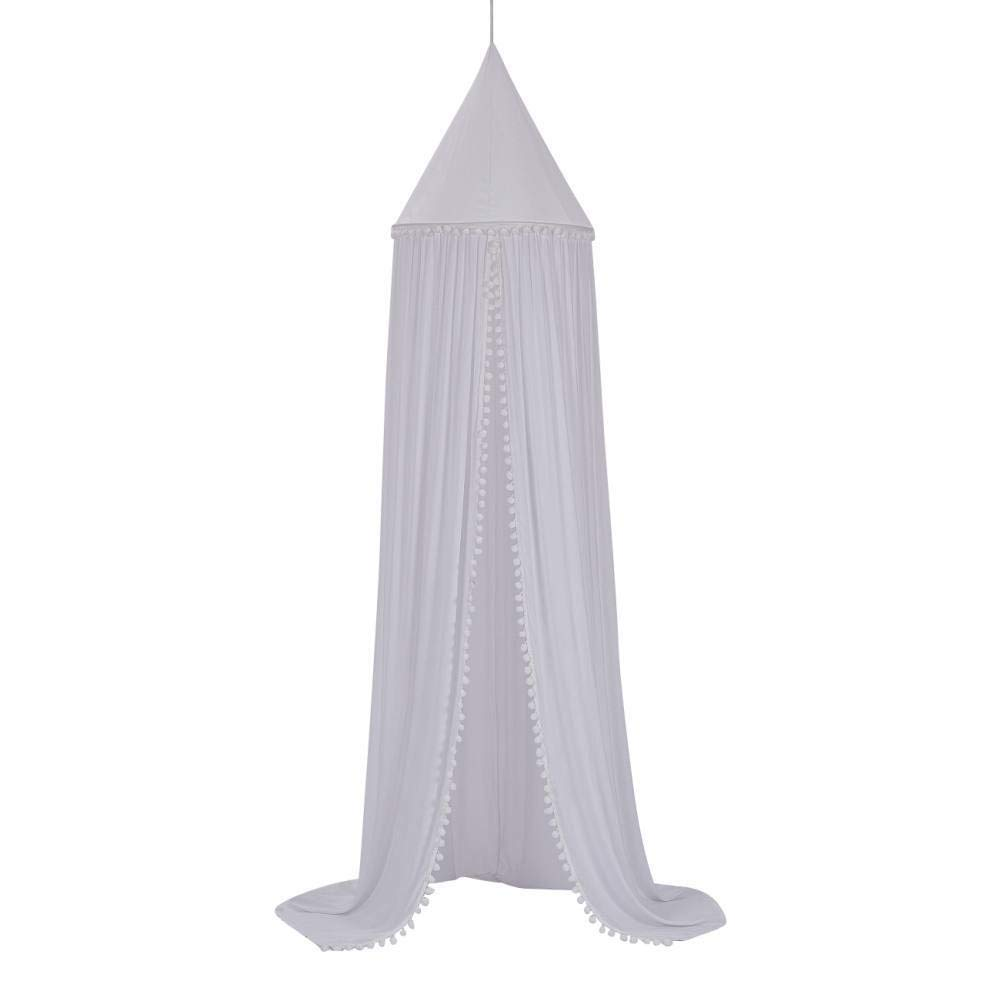 Patgoal Cotton Hang Dome Mosquito Net, Play Tent Bed Canopy with Pompom for Kids Playing Reading Room Photography Decorations