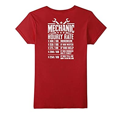 Funny Mechanic Hourly Rate - Graphic Design T-Shirt - Back