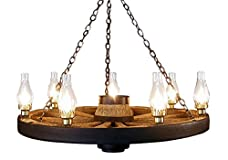 Large Wagon Wheel Chandelier Chimney Lights