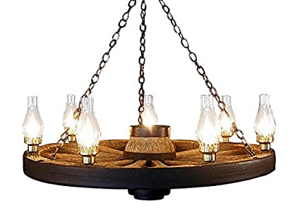 large wagon wheel chandelier chimney lights - Wagon Wheel Chandelier