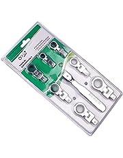 Spärrnyckel set – 8 st flexibel spärrnyckel kit 180° roterbart skakhuvud utbytbart skiftnyckelset