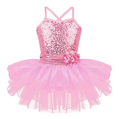 (Agoky Kids Girls Sequins Mermaid Gymnastics Leotard Ballet Tutu Dress Princess Party Dance Halloween Costumes Pink Straps 6)