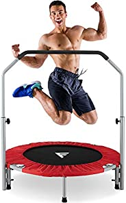 """FiveJoy 40"""" Foldable Mini Trampoline for Kids and Adults, Fitness Rebounder with Adjustable Foam Handle,"""