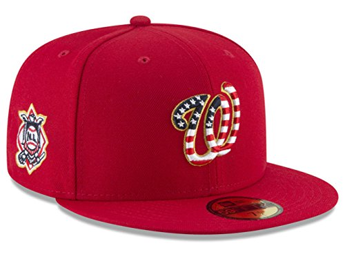 (Washington Nationals New Era Stars And Stripes Fitted Size 7 1/2 Hat Cap - Red)