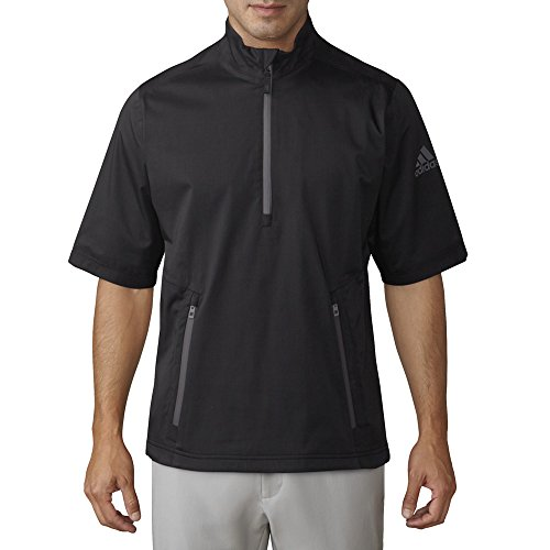 - adidas Golf Men's Climaproof Heather Rain Short Sleeve Pullover Top, Black/Night Grey, XX-Large