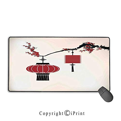Extended gaming mouse pad with stitched edges,Lantern,Chinese Lantern Hang on a Cherry Tree Celebration Flower Oriental Design Artwork Decorative,Black Red, Suitable for offices and homes,15.8