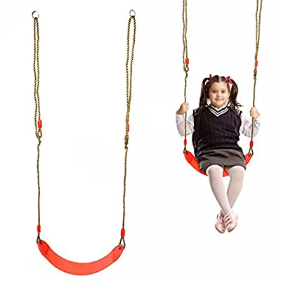 Qiilu Board Swing Seat,Soft Adjustable Board Swing Seat with Rope Children's Outdoor Fitness Children's Swing Playground Toy (Red): Home & Kitchen