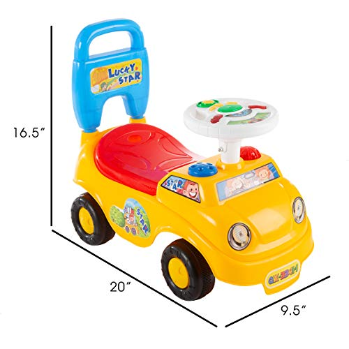 41o8D%2BzE82L - Lil' Rider Ride On Activity Car- Toy Rideon Push Walking Car with Steering Wheel, Lights, Sounds, Music for Babies, Toddlers Learning to Walk